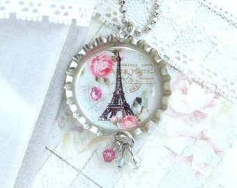 Eiffel Tower Pendant Necklace Shabby Chic Necklace Paris Necklace Bottle Cap Necklace Eiffel Tower Jewelry