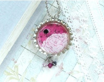 Pink Rose Necklace French Necklace Bottle Cap Necklace Rose Jewelry Paris Necklace Pink Flower Necklace