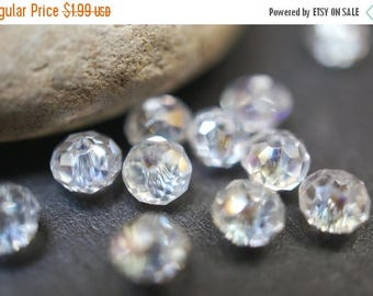 SUMMER CLEARANCE Czech Glass Faceted Clear with AB Tint Rondelle Beads - 4mm - 20 pcs
