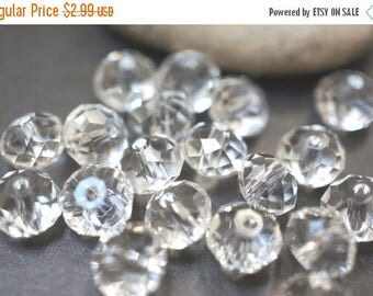 SUMMER CLEARANCE 50% OFF - Czech Glass Faceted Clear Rondelle Beads - 8mmX6mm - 30 pcs