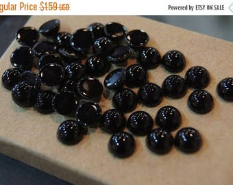 SUMMER CLEARANCE REDUCED - Jet Black Color Round Flat Cabochons - 8mm - 20 pcs