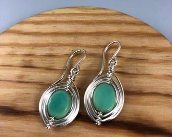 Agate & Sterling Silver Pod Earrings