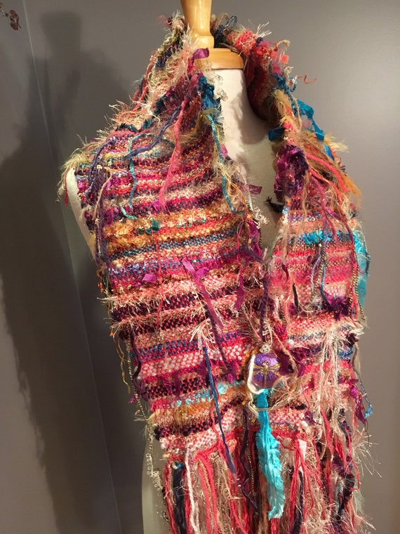 Handmade woven Art Scarf with Czech glass button, wide scarf, 'Childsplay', fashion scarf, lightweight, fringed scarf, pink cowl, rainbow