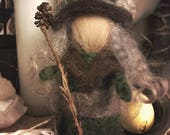 Needlefelted forest crone woman woodland