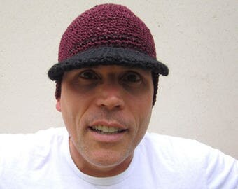 men's hemp visor beanie/ burgundy wine crochet