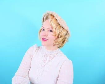 1950s cartwheel hat | off white beige lace brim hat | vintage 50s hat