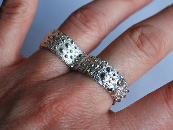 Sterling Silver Sea Urchin 2 Finger Knuckle Duster Ring