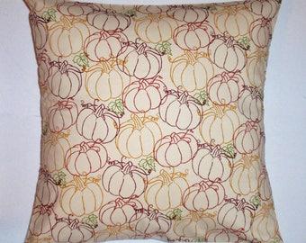 SUMMER SALE - Handmade Halloween or Thanksgiving Throw Pillow Cover, Thanksgiving Pumpkin Decor Accent Pillow Cover, Pumpkin Cushion Cover