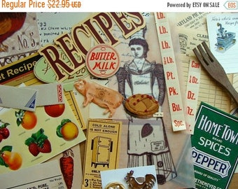 ON SALE Vintage Farmhouse Baking and Kitchen Ephemera for Altered Recipe Books, Mixed Media and Scrapbooking Huge Lot 50 Pieces
