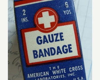 ONSALE Antique Medical Red Cross Rx Bandage Original Box Unused Great Condition