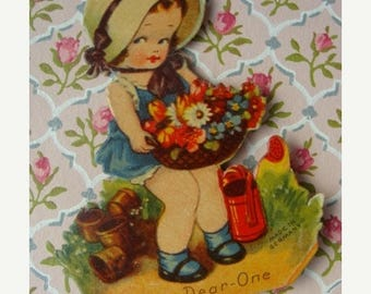 ONSALE One Stunning Antique Gibson Die cut Tally Place Card with Vintage Basket of Flowers and Watering Can