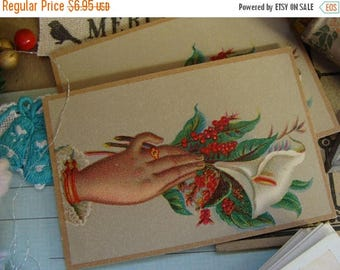 ONSALE One Antique 1800s Christmas Stunning Trade Lithograph Trading Card N0126