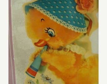ONSALE Vintage Kitsch 1950s Antique Chick Lithograph Transfer for Decoupage or Altered Art