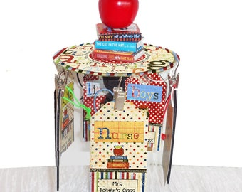 Teacher Gift Desktop Hall Pass Carousel Personalized School Days with apple and  stacked mini books