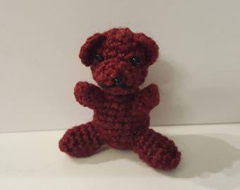 Doll-sized crochet teddy bear