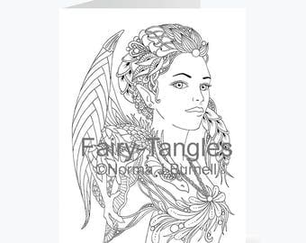 Printable Fairy Tangles Greeting Cards to Color by Norma J Burnell Fairy and Dragon coloring card for Card Making and Adult Coloring Fairies