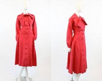 40s Dress Linen XS  / 1940 Vintage Dress Button Front Bow Tie / Swingtime Summer Dress