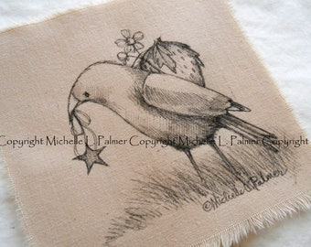 Michelle Palmer Fine Art Ink Illustration on Tea Stained Muslin Crow Bird Blackbird Star Strawberry Season Blossom Fruit June Feathered