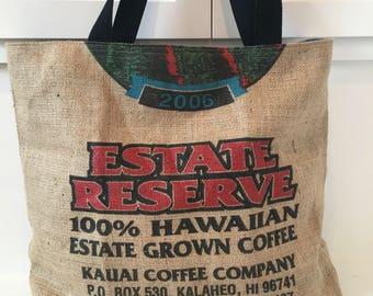 Kauai Coffee Company/ Burlap Tote/ Beach Bag/ Market Tote/ Coffee Sack Tote