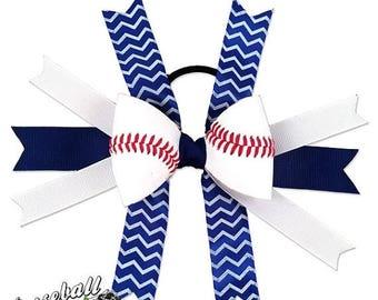 JULY SALE - 20% OFF: Baseball Hair Bow - Blue White Chevrons