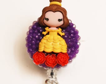 Belle From Beauty And The Beast ID Badge Reel - Retractable ID Badge Holder - Zipperedheart
