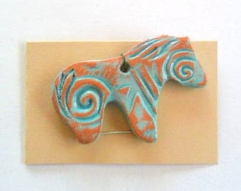 Distressed Turquoise Glazed Terra Cotta Lg. Horse Pendant Finding