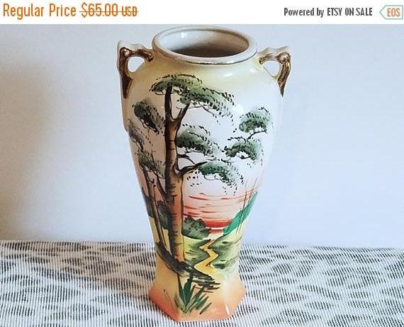 Christmas in July Sale Vintage Royal Nishiki Japan hand painted bonsai tree porcelain ceramic vase urn with eared handles