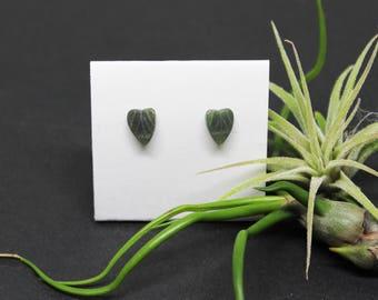 Taiwan Jade Gemstone, 6x8mm Carved Leaves, Sterling Silver Posts Studs Earrings, Leaf Earrings, Dark Green Gemstone, Free Shipping, E17100