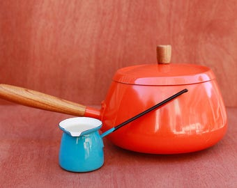 Mid Century Modern Orange Fondue or Sauce Pan with wood Accents and Bonus Enamelware Butter Warmer in French Blue