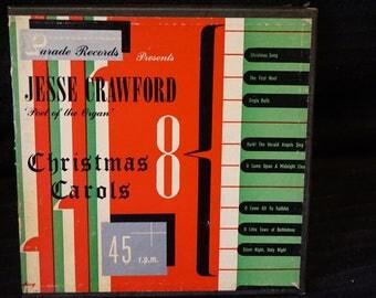 Vintage Christmas Record Set 45RPM Jesse Crawford Christmas Carols  Parade Records  Vinylite Record