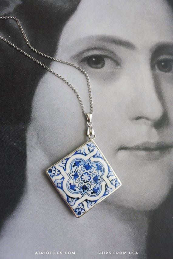 Silver Necklace Tile Portugal Azulejo Portuguese Antique Majolica AvEIRO Blue - Geometric - 925 REVERSIBLE Gift Box Included 578