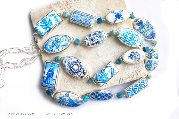 "Portugal Necklace Tile Azulejo Tile Portuguese BLUE 15 Reversible Tiles!  36"" LONG  Majolica Mosaic History Woman Gift Ceramic Turquoise"