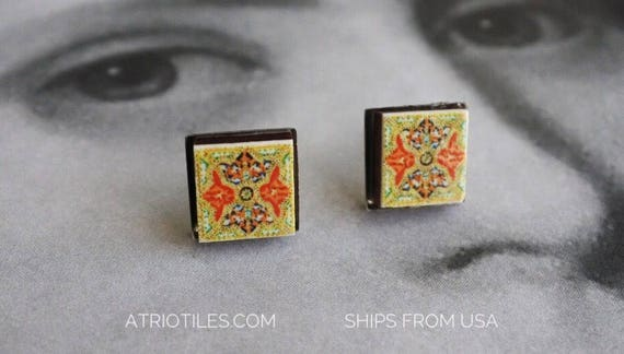 STUD Earrings Portugal Tile Posts Stainless Steel Arab Portuguese Azulejos  Persian Hypo Allergenic Gift Boxed  Ships from USA  579