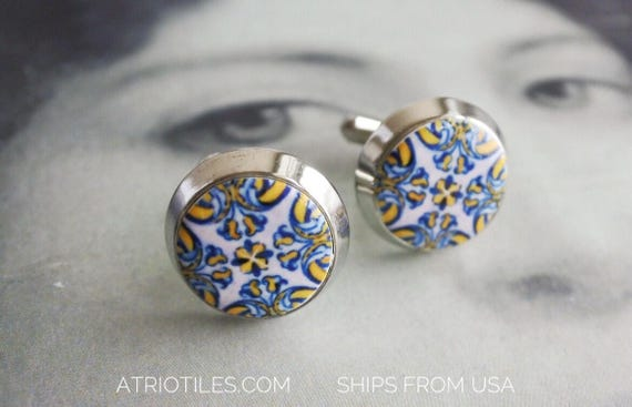 Cuff Links Tile Portugal Blue Gold  1560 AZULEJO  Antique Tile Replica Featured in French Magazine  L'Expansion Tendance - Gift Box Included