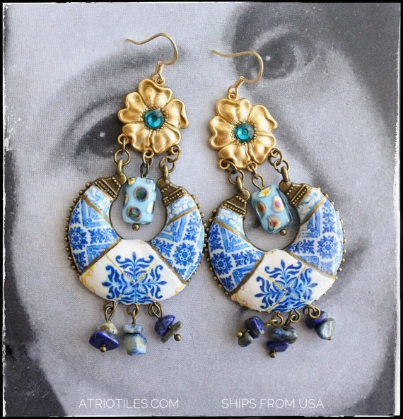Earrings Chandelier Blue Tile Portugal Antique Azulejo - Ovar DELFT  - Gift Box Included - Czech Glass Beads and Semi precious stones