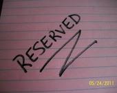 Reserved for Jamie Varone