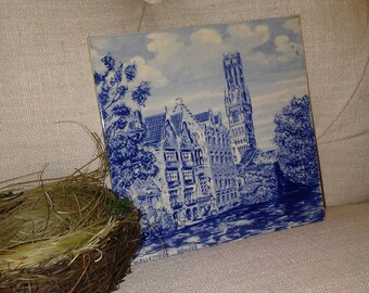 Howland Ya' Goin' To Be, Holland Made Blue Tile Marked with Brugges at Nestbox Vintage