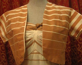 "1950's, 34"" bust, 2 piece white and tan and cotton striped sun dress with matching bolero jacket"