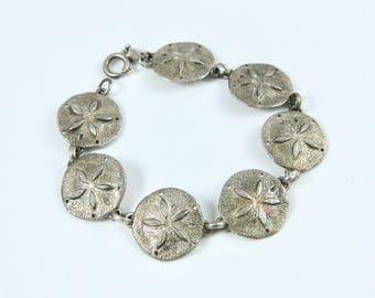 Vintage Sterling Silver Sand Dollar Beach Themed Bracelet
