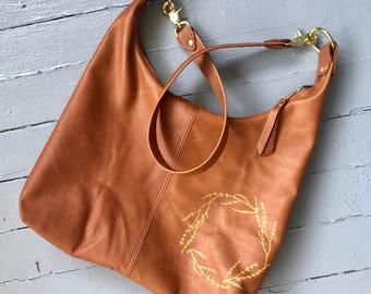 ZIP TOTE - large bag - customizable leather bag - personalization - large leather handbag - large custom bag - zippered tote - crossbody bag