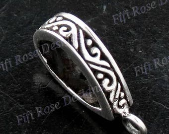 "3/8x5/8"" Bali Scroll 925 Sterling Silver Design Bezel Component Finding"