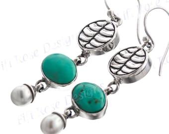 "1 9/16"" Turquoise Freshwater Pearl 925 Sterling Silver Earrings"