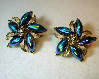 Turquoise Aurora Borealis Flower Clip Earrings, Peacock Metallic Glass Petals on Silvertone Metal Settings, 1960s