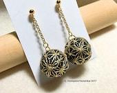 Teenie Temari Earrings (pierced or clip-on) - AsaNoHa, Gold on Black
