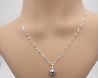 Light Purple Pearl Pendant, Simple Chain with a Swarovski Pearl, Women's Layering Necklace,  Everyday In Style  Necklace, Gift For Her