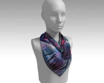 Swirling Waves Chiffon Scarf / Wearable Original Art / Encaustic Painting on 100% Poly Chiffon  / Available in 6 Sizes / Made to Order