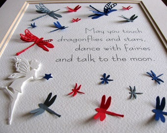 Dance with Fairies, Touch Dragonflies 3D Word Art / Red, Navy, Gray or YOUR Colour Choices for Dragonflies / 8x10 inches / Made to Order