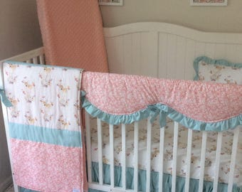 Baby Bedding Crib Set Mint Teal Coral Peach Woodland Floral Fawn