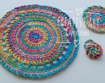 Rainbow Place Mat, Coasters , Napkin Rings Set, Crocheted Coasters, Round, Elegant, Large, Made to Order, Tie Dye Look, Bright, Cotton Coast