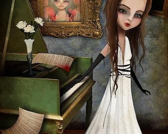 50% Off SALE Fine art print - 'Elizabeth Killbride' - 11x17 or 13x19 large girl print - Creepy Cute Lowbrow Artwork - Pianist - Piano Player